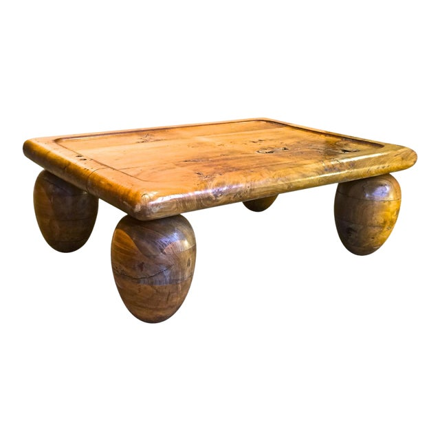 Brutalist Coffee Table With Awesome Olive Shaped Leg For Sale