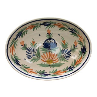 French Quimper Oval Serving Bowl