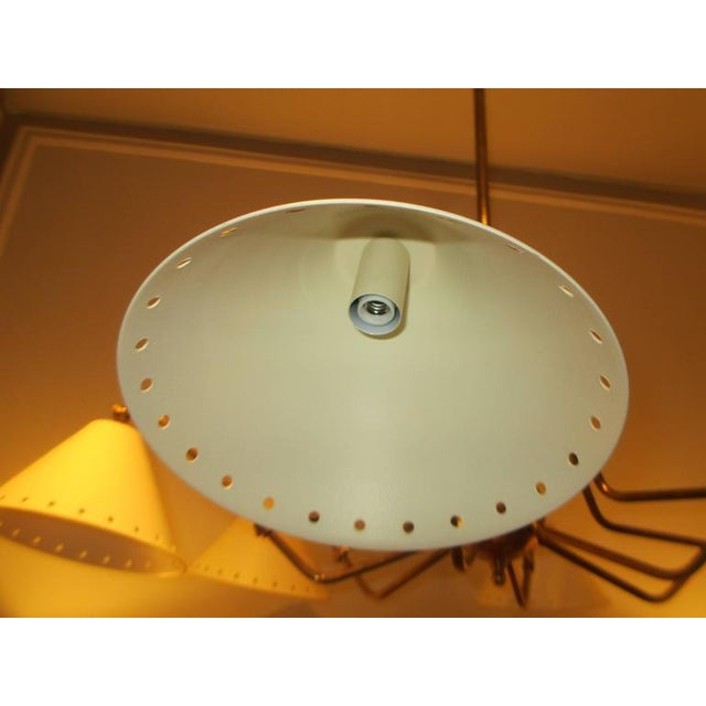 2000s Custom Six-Light Brass and Tole Fixture in the Mid-Century Manner For Sale - Image 5 of 7