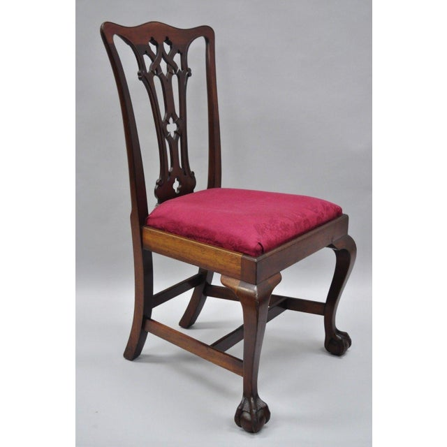T. Robinson & Sons Makers Antique Solid Mahogany Chippendale Style Side Chairs - a Pair For Sale - Image 12 of 13