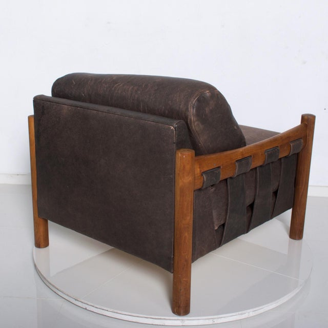 Mid Century Modern Craft Associates Brazilian Leather Lounge Safari Chair For Sale - Image 10 of 11