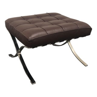 K&D Furniture Barcelona Style Brown Bonded Leather Ottoman