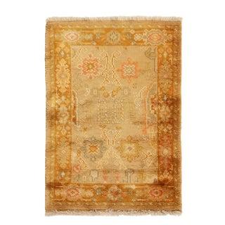 Vintage Oushak Brown Beige Wool Rug For Sale