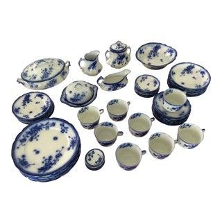 Flo Blue China La Pavot Pattern Dinnerware - Set of 62 For Sale
