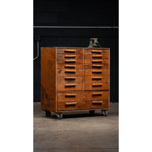 Vintage Industrial Machinist Cabinet With Bench Vise For Sale - Image 11 of 11