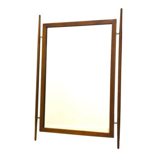 Walnut & Brass Mid Century Mirror For Sale