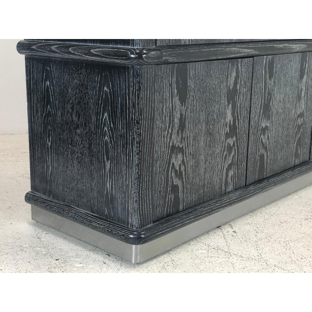 Metal Cerused Ebony Oak Credenza by Jay Spectre For Sale - Image 7 of 11