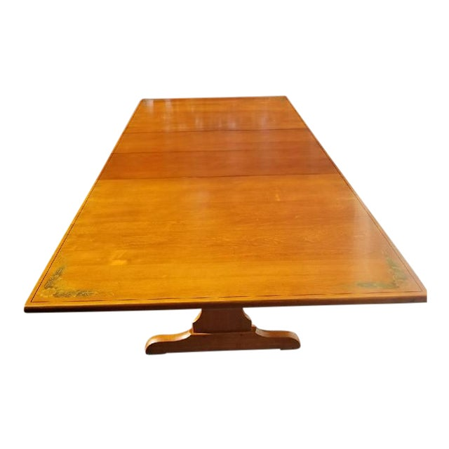L. Hitchcock Furniture Harvest Trestle Table with 2 Leafs - Image 1 of 8