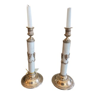1900s - 1940s English Sterling & Marble Candles With Gargoyle Motif - a Pair For Sale