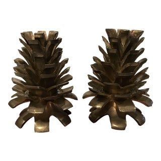 Vintage Brass Pinecone Candlesticks - a Pair For Sale