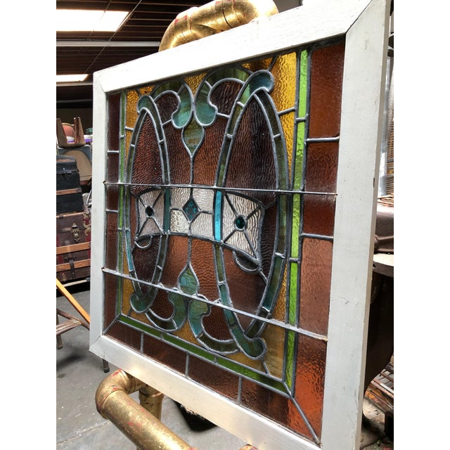 1960s Vintage Framed Square Stained Glass For Sale - Image 9 of 12