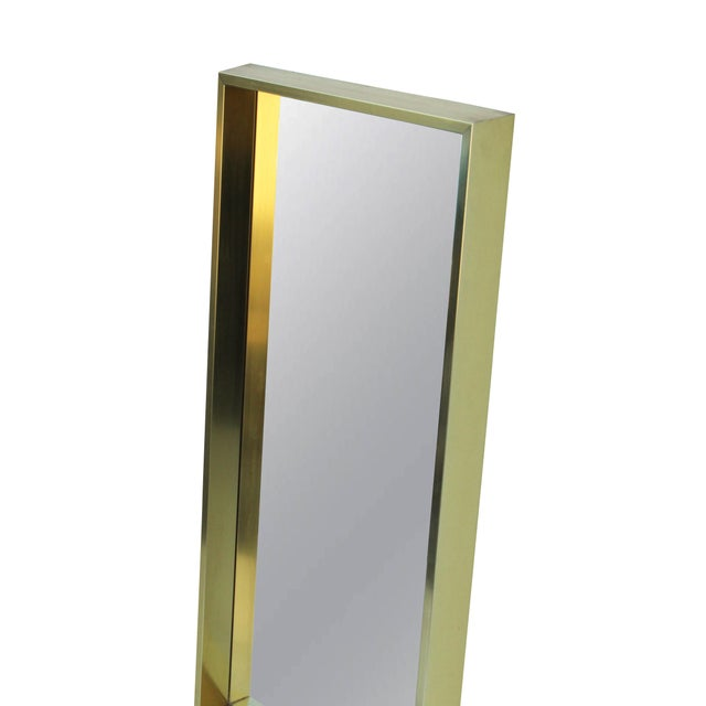 Contemporary Rectangular Goldtone Mirror For Sale - Image 3 of 7