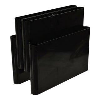 Kartell Mid Century Black Classic Plastic Lucite Magazine Rack Holder For Sale