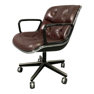 Vintage Charles Pollock for Knoll International in Cordovan Leather Executive Chair For Sale