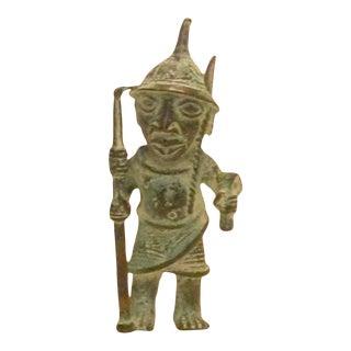 African Bronze Standing Warrior