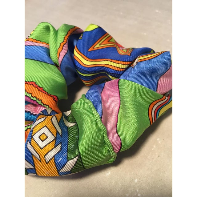Hermès Hermes Handmade Vintage Silk Scarf Scrunchie in Green, Blue and Yellow For Sale - Image 4 of 13