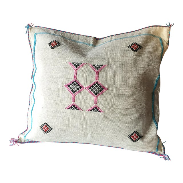 White & Pink Cactus Silk Pillow Cover - Image 1 of 6