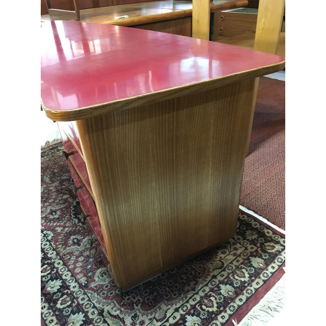 1950s Mid-Century Modern Oak and Red Laminate Writing Desk For Sale - Image 4 of 9