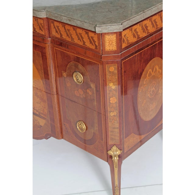 French Ormolu Mounted Fruitwood Chest With Shaped Marble Top - Image 2 of 10