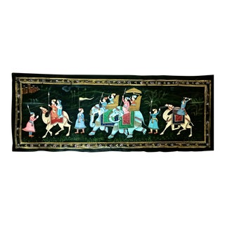 Antique Indian Ottoman Mughal Elephant and Camel Silk Fabric Pichhwai Painting For Sale