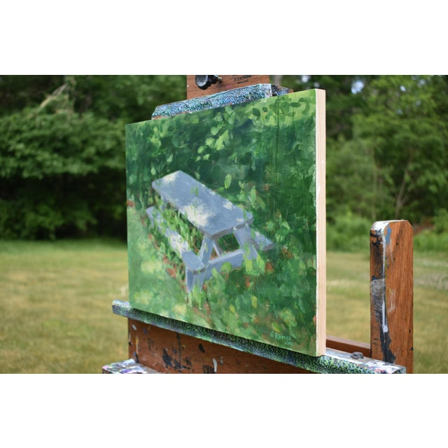 "Figurative ""Forgotten Picnic Table"" Original Painting For Sale - Image 3 of 9"