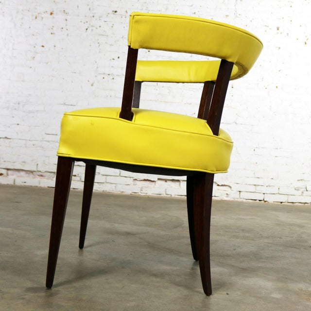Mid Century Modern Yellow Vinyl and Oak Barrel Back Side Chair For Sale - Image 6 of 13