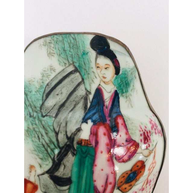 Vintage Trinket Metal Box With Porcelain Top Hand Painted Asian Scene For Sale - Image 10 of 13