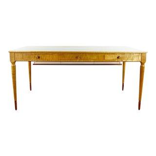 Anthony Kahn Custom Carved Maple and Inlaid Wood Three Drawer Desk