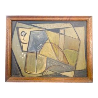 Cubist Portrait of Figure Signed Painting For Sale