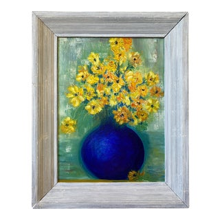 1990s Folk Art Style Still Life of Daisies Oil Painting, Framed For Sale