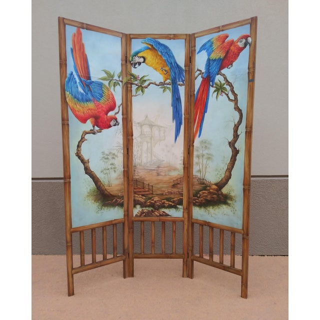 Chinoiserie Picturesque Tropical Double Sided Hand Painted Room Divider For Sale - Image 13 of 13