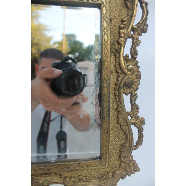 Antique French Ornate Gilt Metal Table Mirror - Image 6 of 11