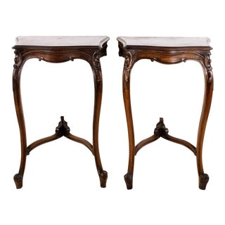 French Louis XVI Walnut Carved Hall Tables - a Pair For Sale