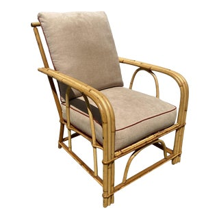 """""""1949er"""" Rattan 3-Strand Lounge Chair by Heywood Wakefield For Sale"""