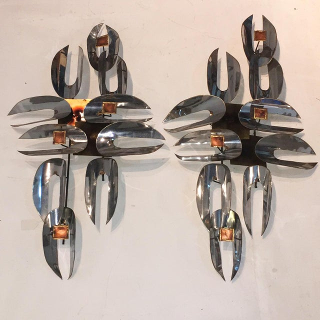 C. Jere Chrome & Brass Wall Sculptures - A Pair - Image 6 of 6