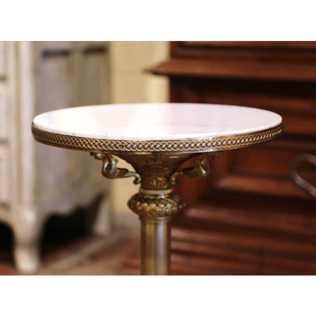 French 19th Century French Empire Bronze Doré and Marble Side Pedestal Table For Sale - Image 3 of 6
