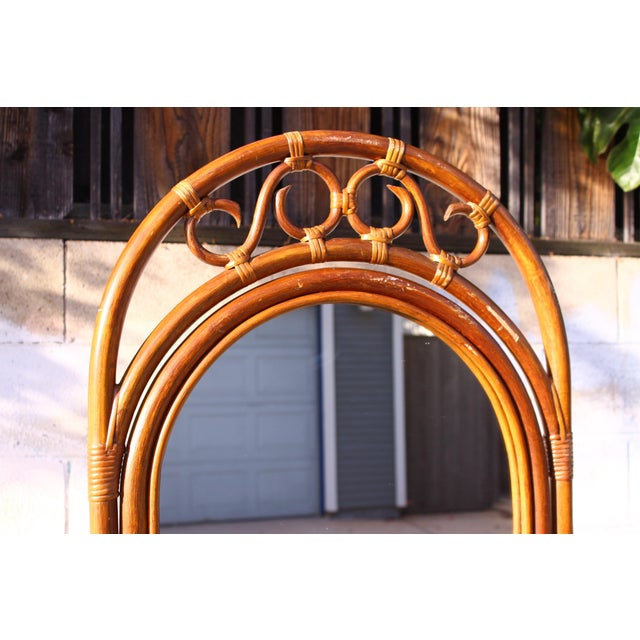 Mid Century Bent Rattan Cheval Mirror - Image 4 of 11