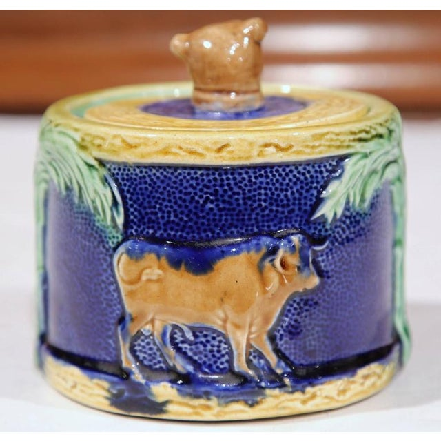 19th Century French Hand-Painted Barbotine Sugar Bowl With Lid and Cows For Sale - Image 4 of 9