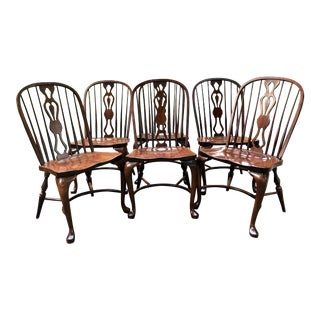 English Style Queen Anne Windsor Chairs by E. R. Buck - Set of 6 For Sale