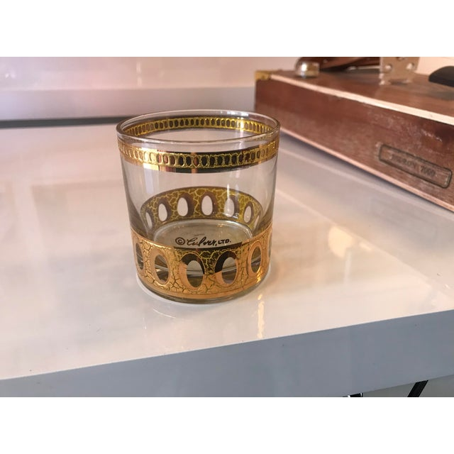 Glass Mid-Century Modern Culver Ltd Glass Ice Bucket/ Punch Bowl With Matching Glasses For Sale - Image 7 of 11