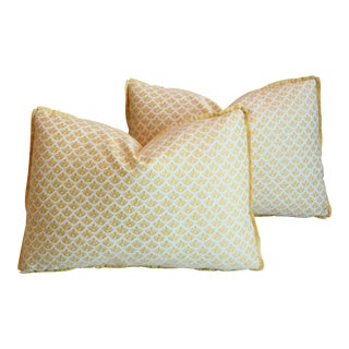 "Italian Marion Fortuny Canestrelli Feather/Down Pillows 21""x 15"" - Pair For Sale"