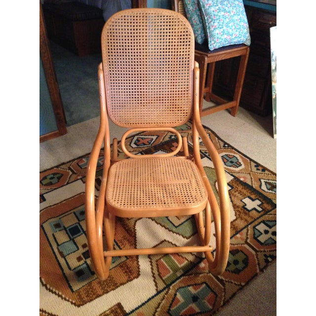 Mid-Century Modern Mid-Century Modern Natural Beech Wood Bentwood and Cane Rocking Chair For Sale - Image 3 of 3