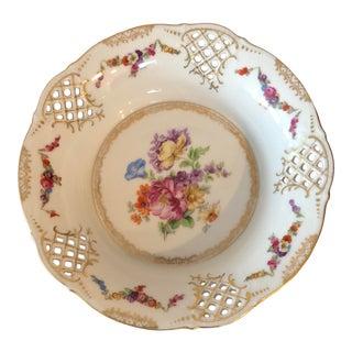 Antique Schumann Dresden Bavaria Reticulated Floral Porcelain Bowl For Sale