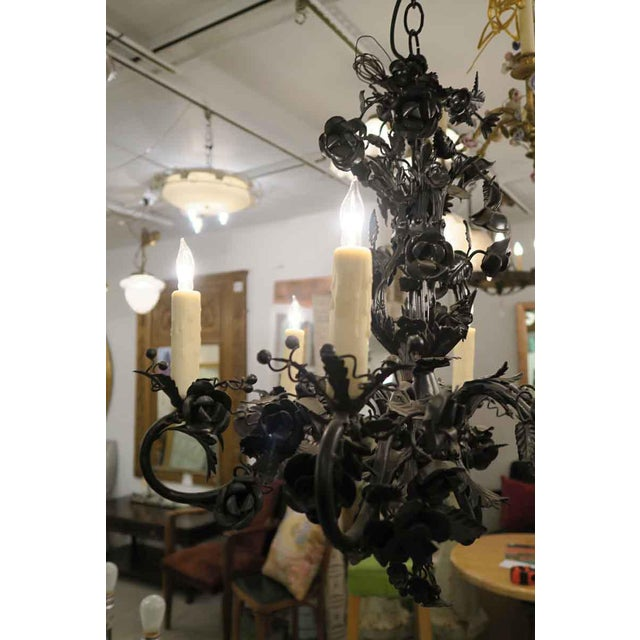 Gothic Black Rose Wrought Iron Floral Chandelier For Sale - Image 3 of 7