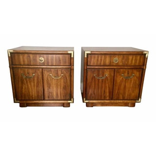1970s Campaign Drexel Nightstands or Side Tables - a Pair For Sale