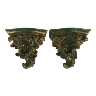 Carved Gilt Green Wall Brackets - a Pair For Sale