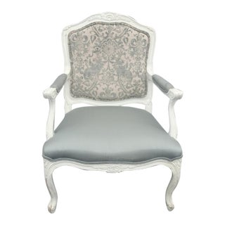 Vintage French Highland House Provincial White & Baby Blue Accent Chair For Sale