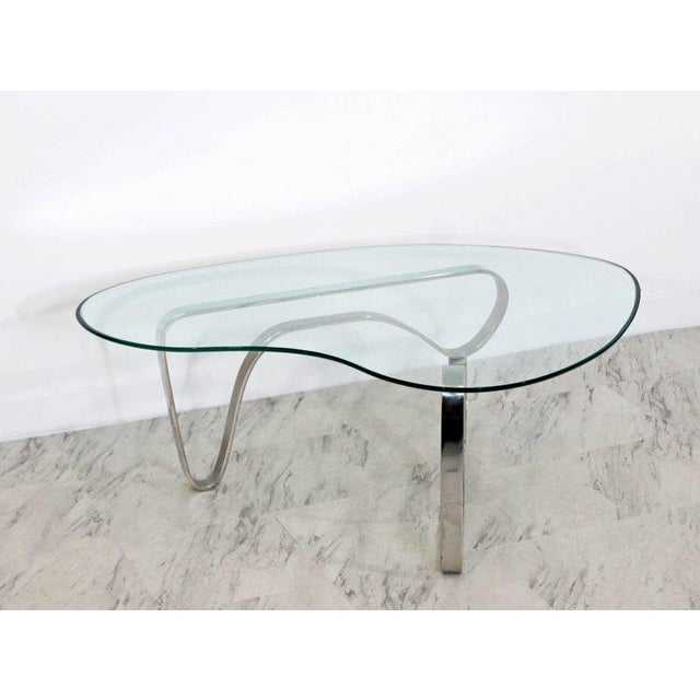 1970s Mid-Century Modern Sculptural Chrome Kidney Glass Coffee Table Pace Era, 1970s For Sale - Image 5 of 10