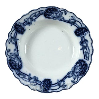 18th Century Victorian Lily Flow Blue W. Adams & Co. Crown Semi Porcelain Collectible Plate For Sale