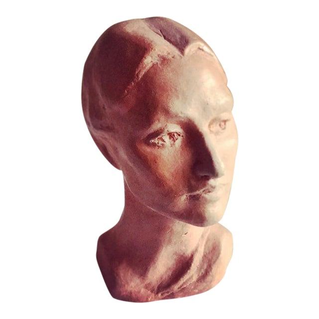 Vintage Artisan Sculpted Female Head Bust For Sale